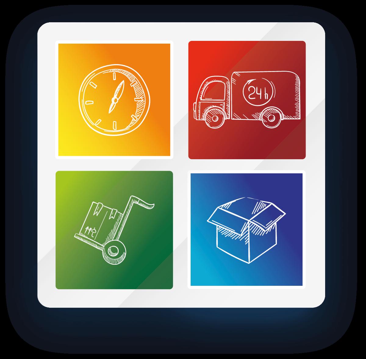 Grafik mit Logofarben und Icons zum Transportunternehmen Hartwig